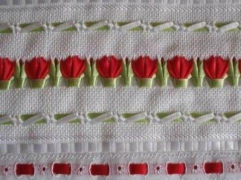 imagenes de bordados de liston de flores