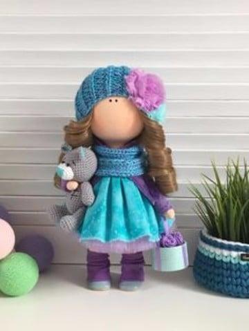 muñecas rusas de tela con accesorios
