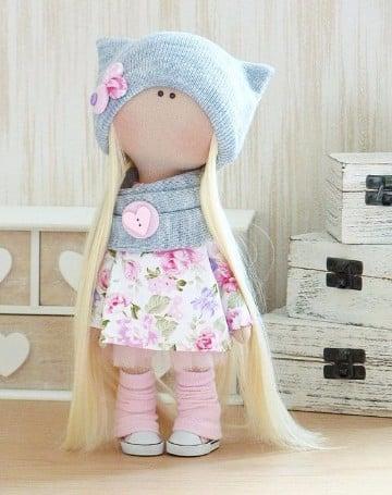 muñecas rusas de tela con cabello largo