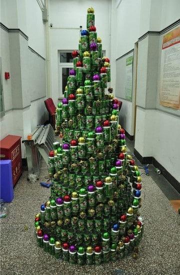 pinos de navidad reciclados con latas