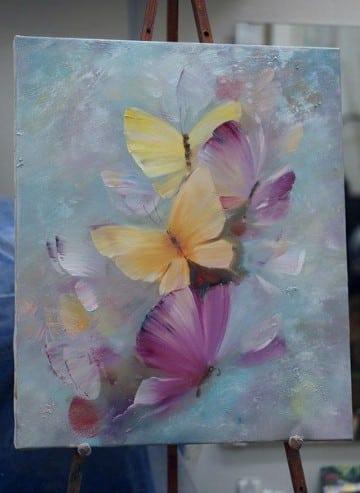 pinturas de mariposas al oleo de colores