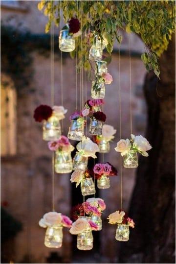 botellas de vidrio decoradas para cumpleaños jardin