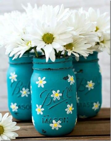 como adornar tarros de cristal flores