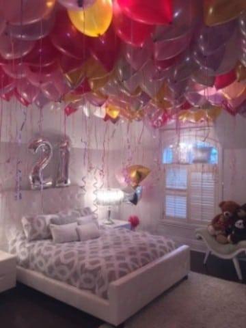 como decorar un cuarto para cumpleaños 21