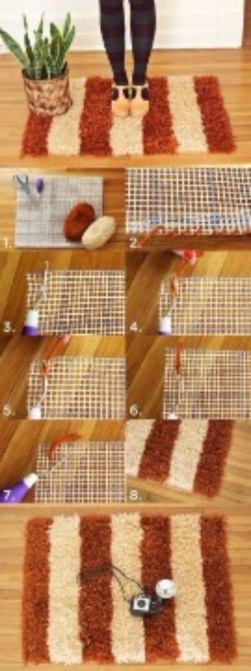 como hacer alfombras a mano marron