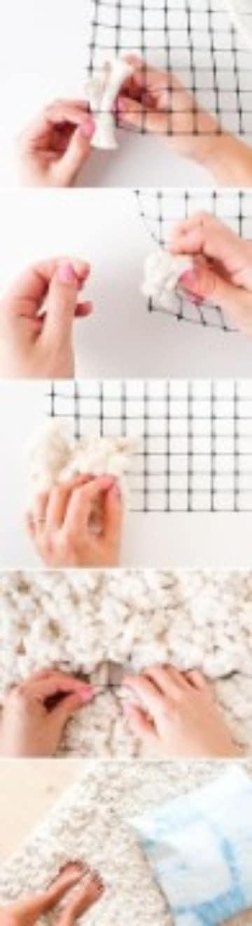 como hacer alfombras a mano peluda