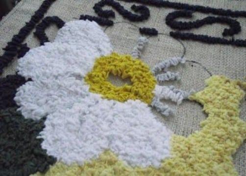 como hacer alfombras de nudos flor
