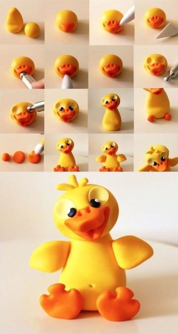 como hacer figuras de porcelana fria pato