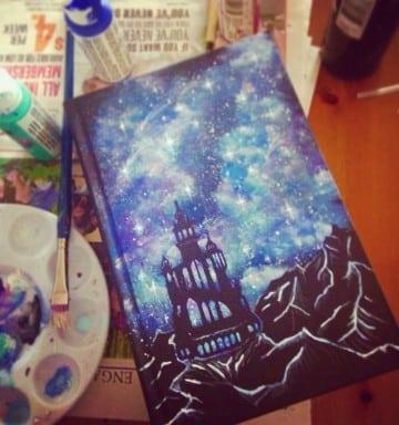 como hacer la tapa de un libro pintado