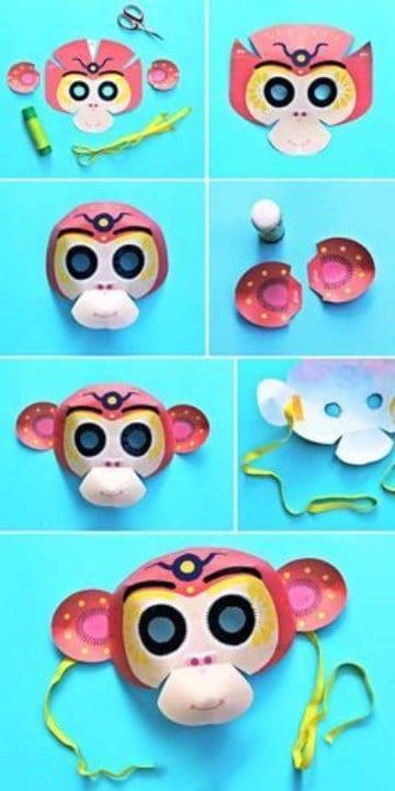 como hacer una mascara de cartulina de mono