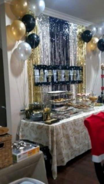 decoracion fiesta fin de año en casa con brillo
