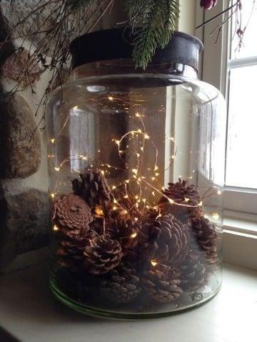 frascos de vidrio decorados para navidad luces