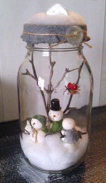 frascos de vidrio decorados para navidad nieve