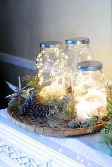 frascos de vidrio decorados para navidad sencillo