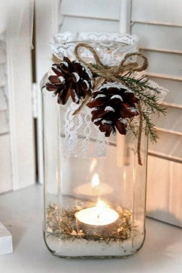 frascos de vidrio decorados para navidad velas