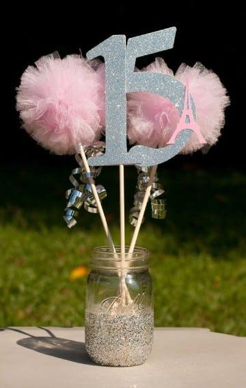 frascos decorados para 15 años pompones