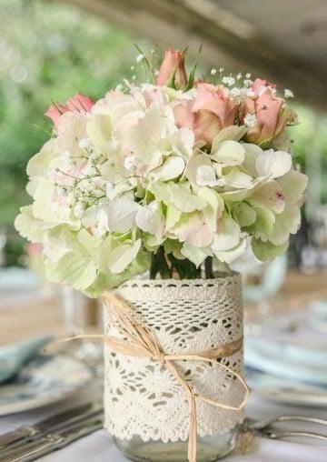 frascos decorados para bodas flores
