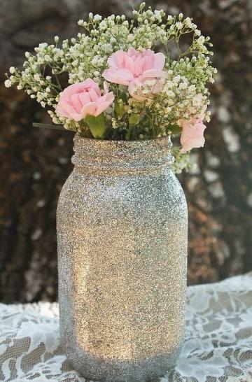 frascos decorados para bodas plateado