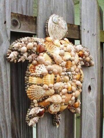 manualidades con caracoles de playa para decorar