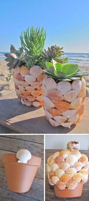manualidades con caracoles de playa para macetas