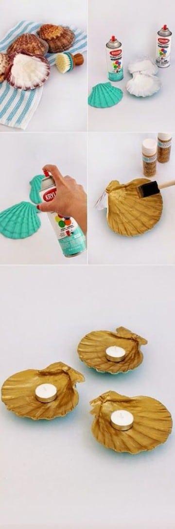 manualidades con caracoles de playa para portavelas