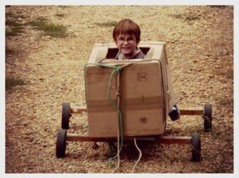 carros de reciclaje para niños de cajas
