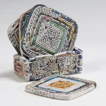 cestas de periodico cuadradas con tapa