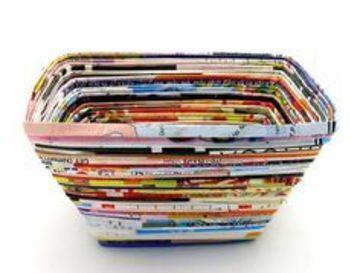 cestas de periodico cuadradas faciles