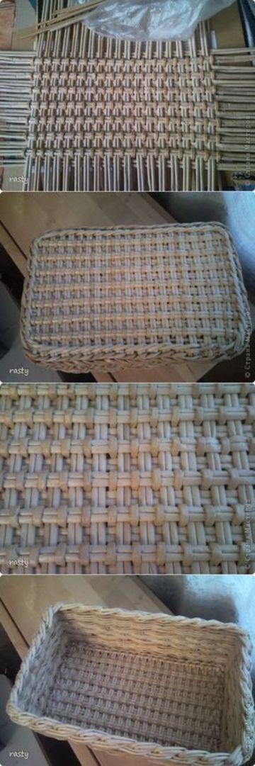 como hacer canastos de mimbre cuadrado