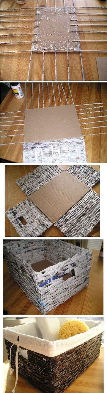 como hacer una canasta con periodico cuadrada
