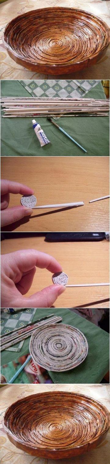 como hacer una canasta con periodico redonda