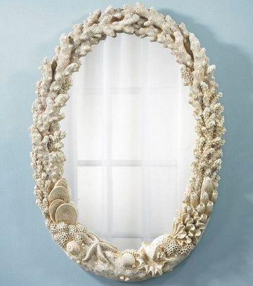 decoracion con caracoles de mar espejo