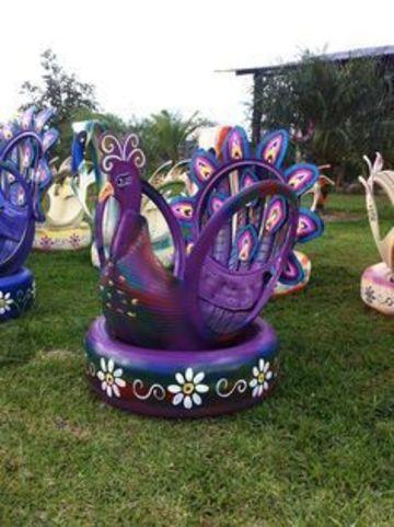 llantas recicladas decoradas para jardin