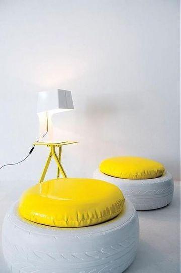 llantas recicladas decoradas para muebles