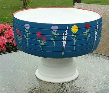 neumaticos reciclados para jardin con base