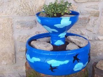 neumaticos reciclados para jardin doble