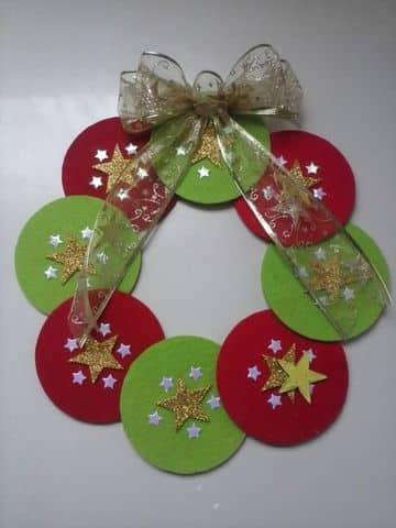 adornos navideños con cd viejos corona