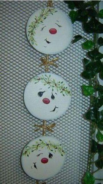 adornos navideños con cd viejos muñeco de nieve