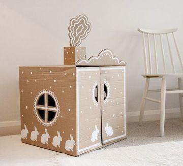 cajas de carton decoradas para niños casa