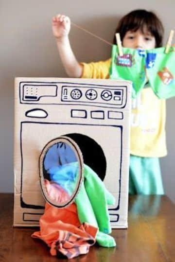 cajas de carton decoradas para niños lavadora