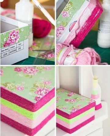 cajas de carton decoradas paso a paso con tela y mecatillo