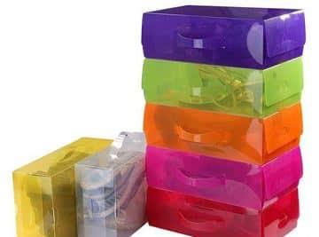 cajas transparentes para zapatos de colores