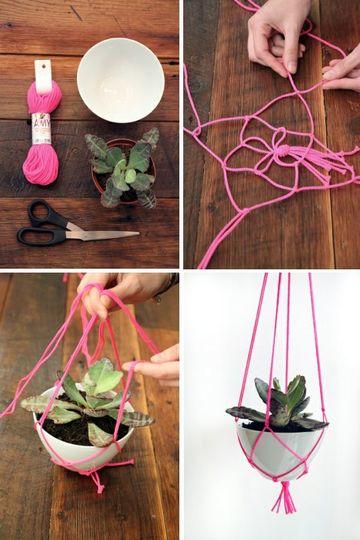 como hacer colgantes para plantas con hilo