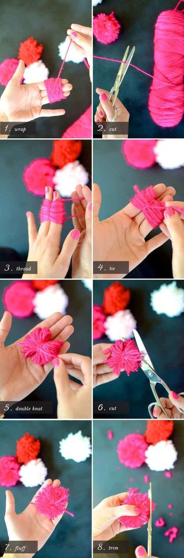 como hacer motas de estambre con los dedos