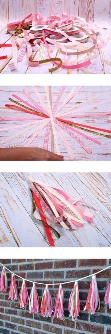 como hacer plumeros de papel cintas