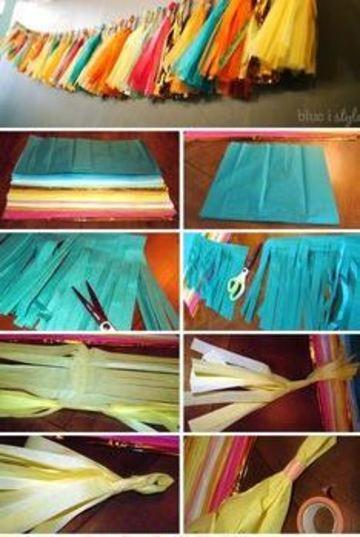 como hacer plumeros de papel crepe