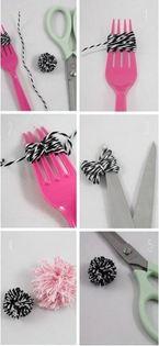 como hacer pompones con un tenedor diminutos