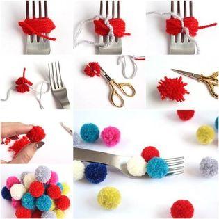 como hacer pompones con un tenedor facilmente