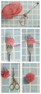 como hacer pompones con un tenedor sencillo