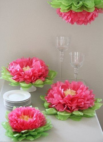decoracion de fiestas con flores de papel de seda